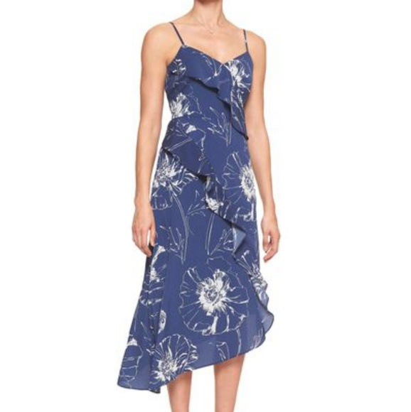 Banana Republic Factory Dresses & Skirts - Banana Republic Navy Blue Floral Midi Dress